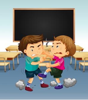 少年が戦っている教室の場面