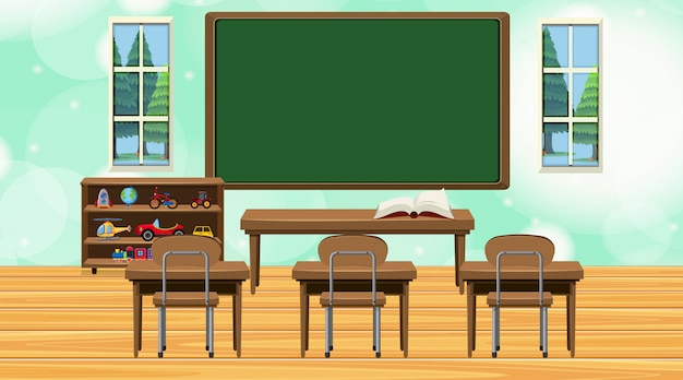 Classroom scene with chalkboard and desks