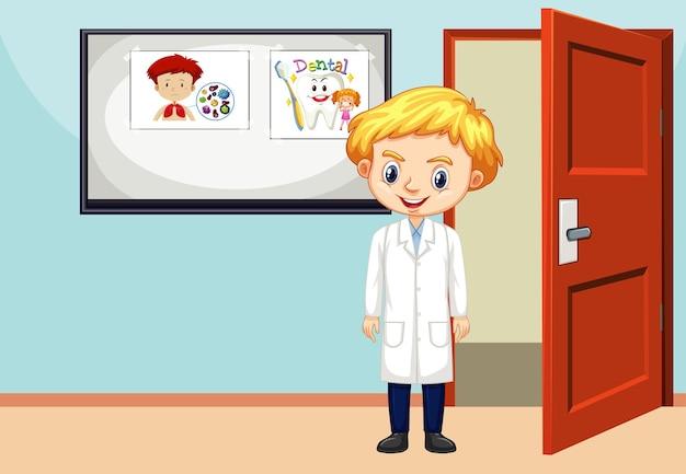 Scena in classe con studente di scienze all'interno