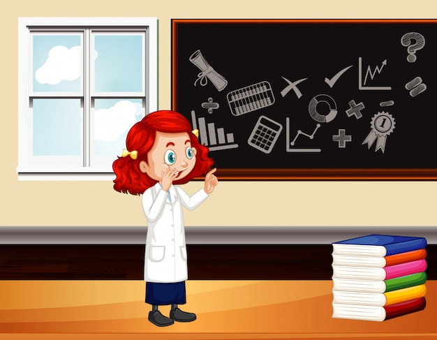 Classroom scene with science teacher by the board