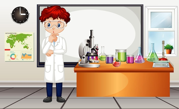 Classroom scene with science teacher and equipments in the room