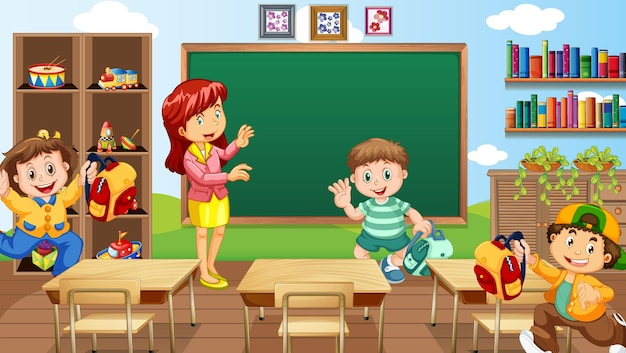 Classroom scene with a teacher and children
