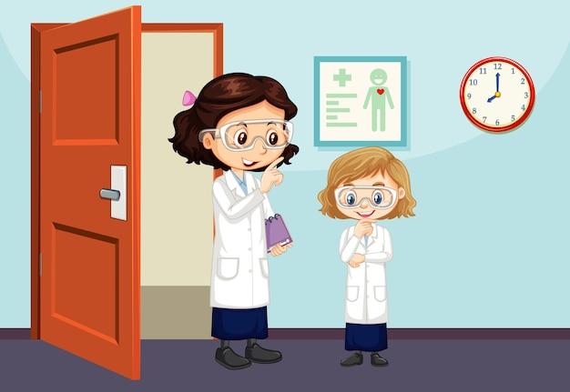 Scena in classe con insegnante e studente all'interno