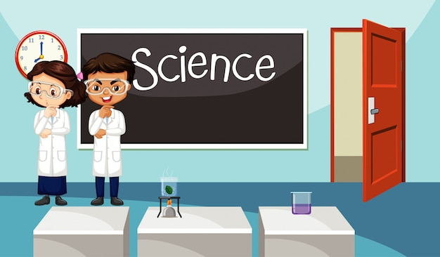 Classroom scene with two science students