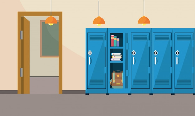 Classroom school education with lockers supplies