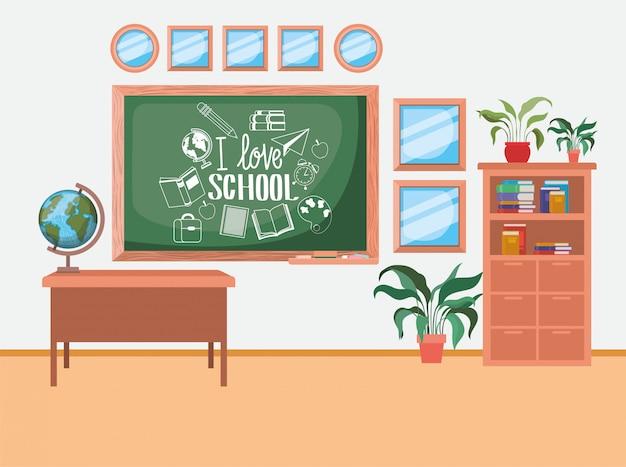 Classroom school with chalkboard scene