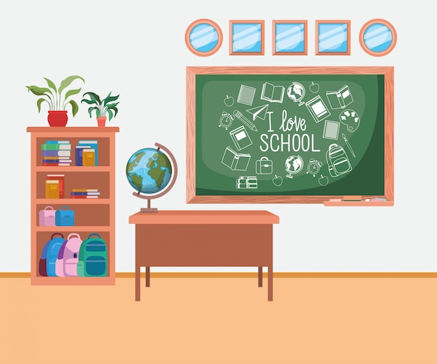 Classroom school with chalkboard scene