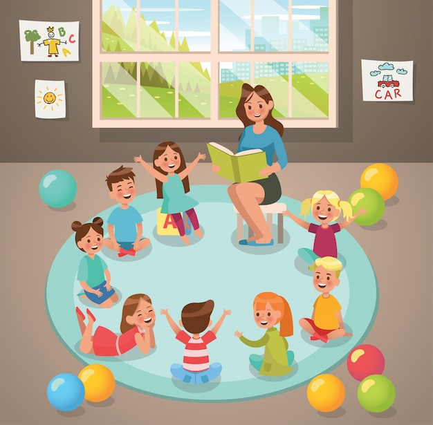 In classroom teacher and children's activity in the kindergarten