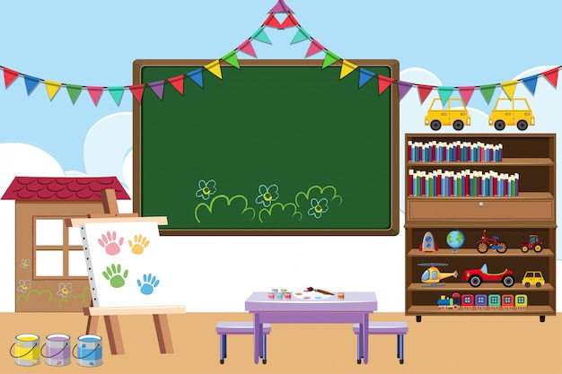 Classroom with board and toys