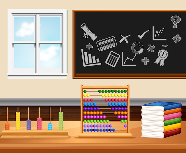 書籍と楽器を備えた教室