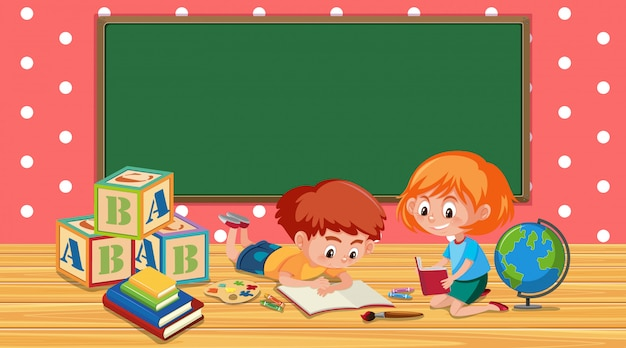 Classroom with boy and girl reading book