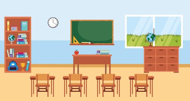 Classroom with chalkboard cartoon