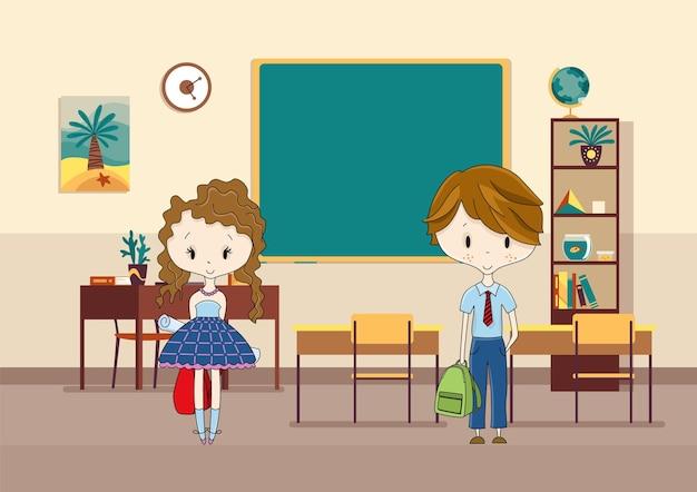 학생들이 있는 교실. 초등학교 아이들. 교육을 위한 현대적인 인테리어입니다. 소년과 소녀 캐릭터