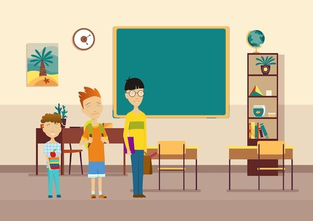 학생들이 있는 교실. 초등학교 아이들. 교육을 위한 현대적인 인테리어입니다. 공부할 준비가 된 소년 캐릭터. 지식 습득 장소.