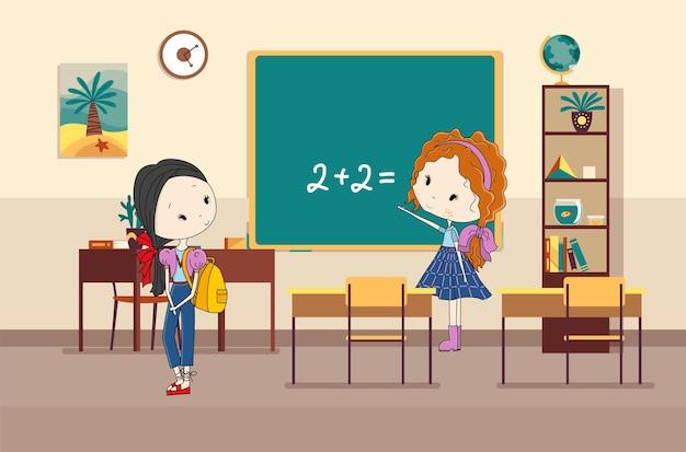 학생들이 있는 교실. 초등학교 아이들. 교육을 위한 현대적인 인테리어입니다. 소녀 캐릭터
