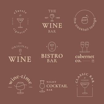 Classy bar logo template vector set