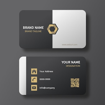 Classy black/white business card with gold hexagon logo
