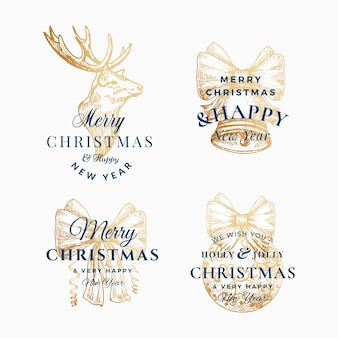 Classy merry christmas and happy new year abstract  signs, labels or logo templates set.
