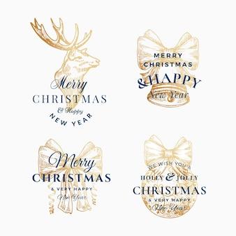 Insieme di modelli astratti di segni, etichette o logo astratti di buon natale e felice anno nuovo di classe.