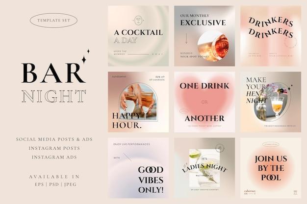 Classy pastel bar template vector campaign social media post set
