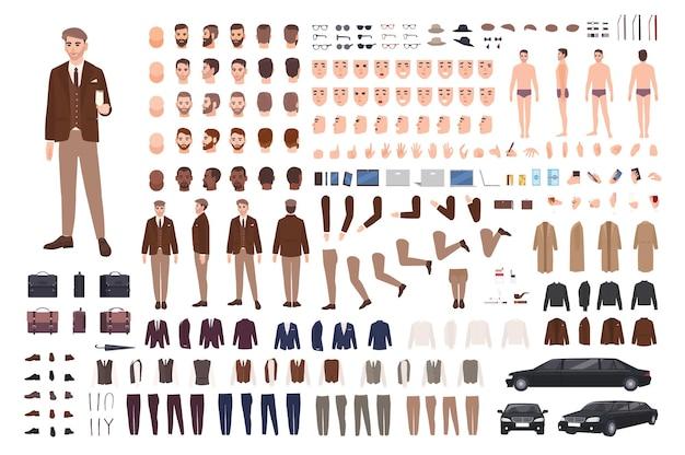 上品でスタイリッシュな男性のスーツ作成セットまたはコンストラクターキット。体の部分、ポーズ、顔、感情、フォーマルな服の束。