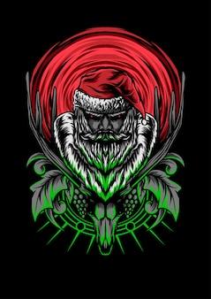 Clause the dead vector illustration dark art apparel