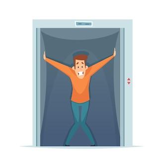 閉所恐怖症。エレベーターの中でおびえた男、限られたスペースへの恐怖。精神恐怖症のベクトル図です。閉所恐怖症の恐怖、宇宙の小さなエレベーター