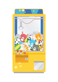 Claw crane machine or teddy picker isolated on white