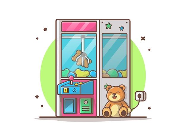 Claw machine with cute teddy bear illustration