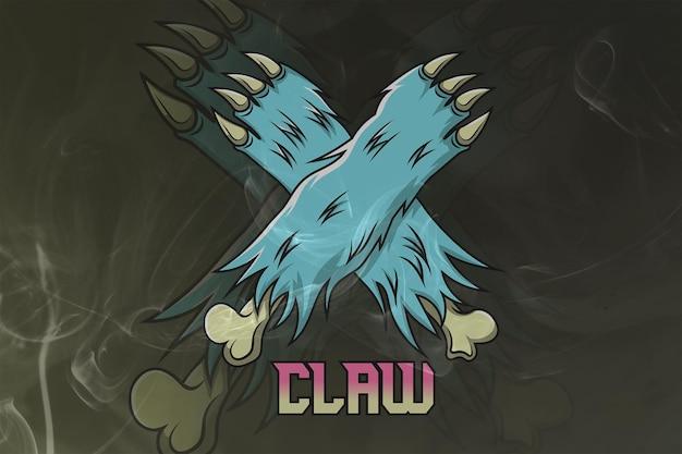 Claw monogram esport 로고 프리미엄