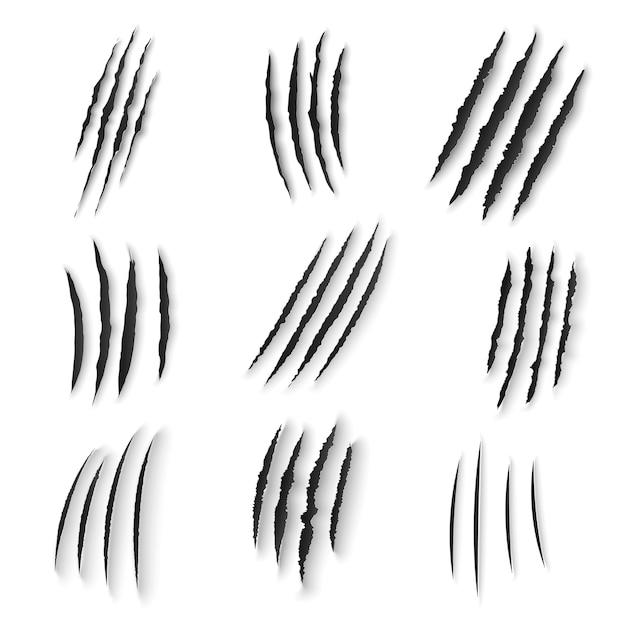 발톱 긁힘 야생 동물 손톱 찢기, 호랑이, 곰 또는 고양이 발은 흰색 배경에 헛간