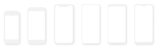 투명 스크린이있는 클레이 모델 스마트 폰. 스마트 폰 모형 컬렉션. 장치 전면보기.