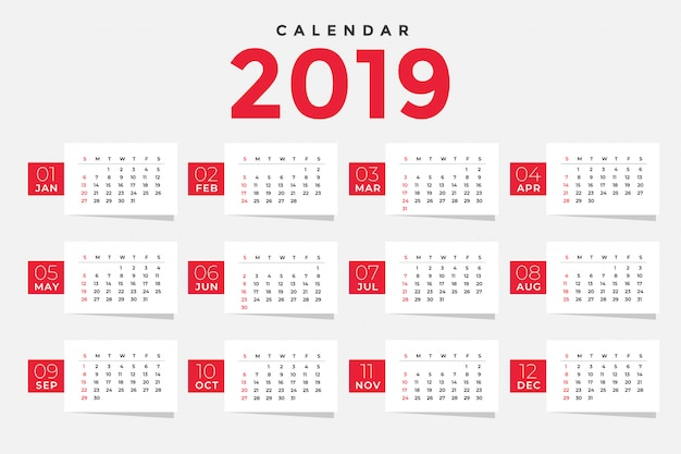 Clean 2019 calendar template design