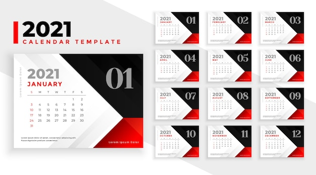 Clean 2021 new year calendar design in red black colors