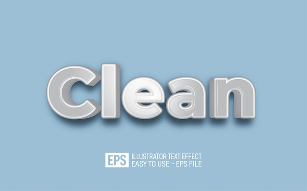 Clean 3d text editable style effect template