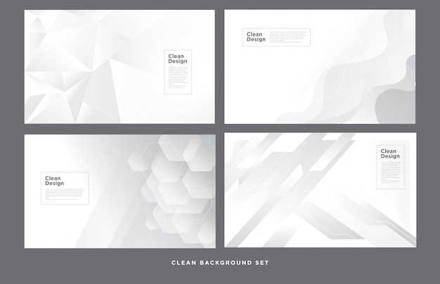 Clean abstract geometric white background set