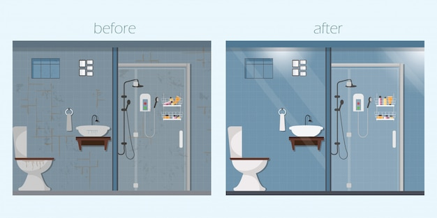 Чистый и грязный интерьер ванной комнаты с мебелью.