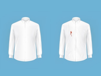 Clean and dirty shirt before after washing vector