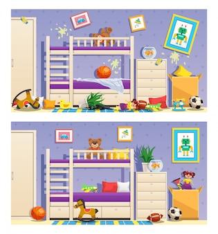 Чистая и грязная детская комната, набор баннеров с изолированными предметами мебели и интерьера