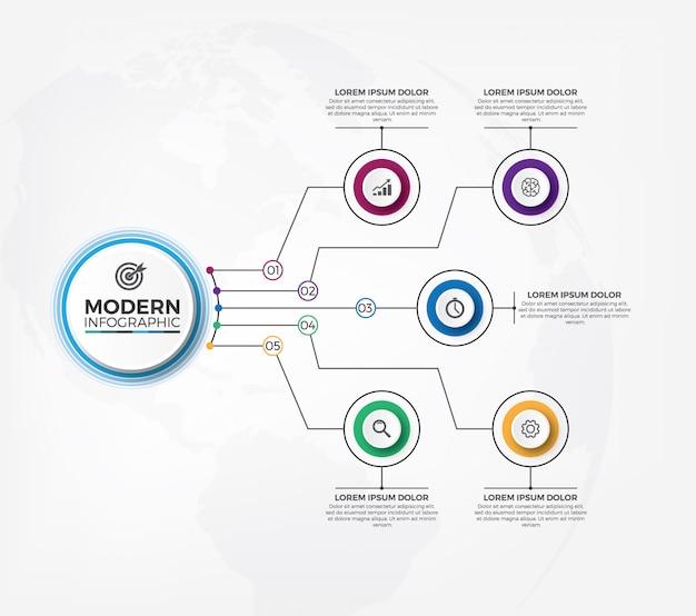 Чистый и современный инфографический шаблон дизайна