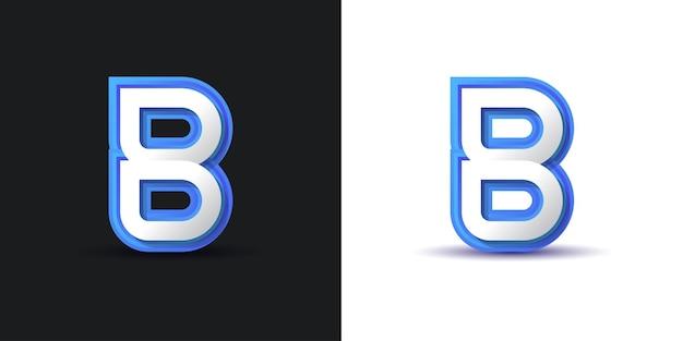 흰색과 파란색의 깨끗하고 현대적인 문자 b 로고 디자인. 기업 비즈니스 아이덴티티에 대한 그래픽 알파벳 기호