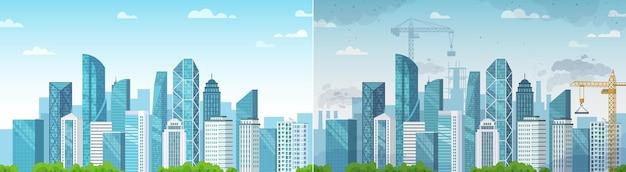 清潔で汚染された都市。汚染と環境、エコロジーとクリーンエリアは、ダストタウンの建設と比較されます。ベクトルイラスト
