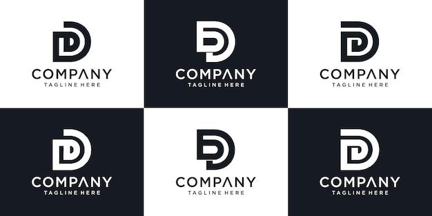 文字dのデザインテンプレートを形成する清潔でスタイリッシュなロゴ