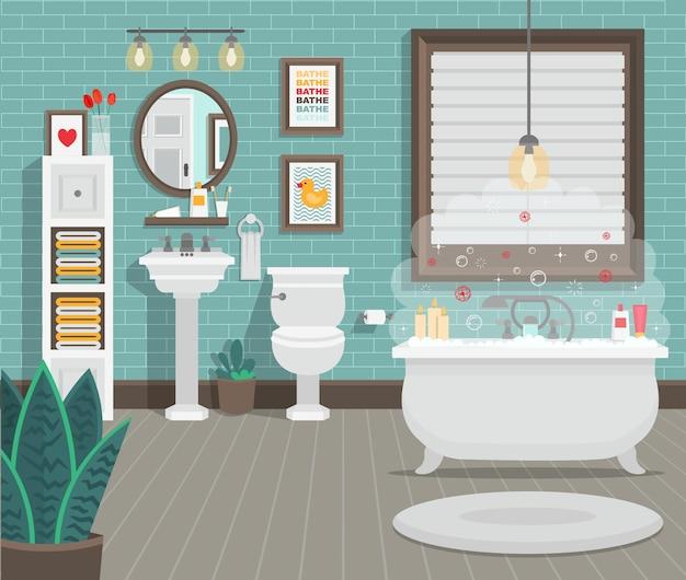 モダンなスタイルのトイレシンクバスとアクセサリー付きの清潔なバスルーム。フラットベクトルイラスト。