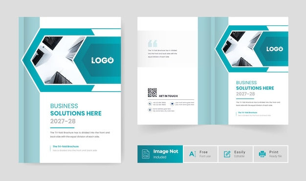 Clean bi fold brochure cover page design template colorful abstract modern creative layout theme