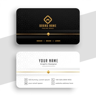Clean black white and golden business card design