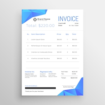 Clean blue abstract low poly shapes invoice template
