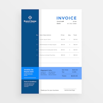 Clean blue business invoice template design
