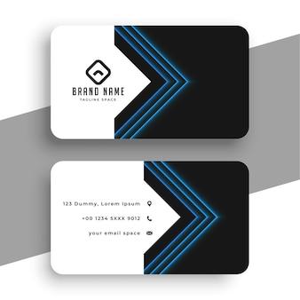 Modello di biglietto da visita pulito con linee geometriche blu