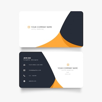Clean business card with abstract orange wave